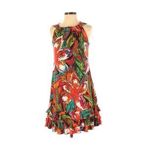R&K Originals Red Water Color Dress Medium